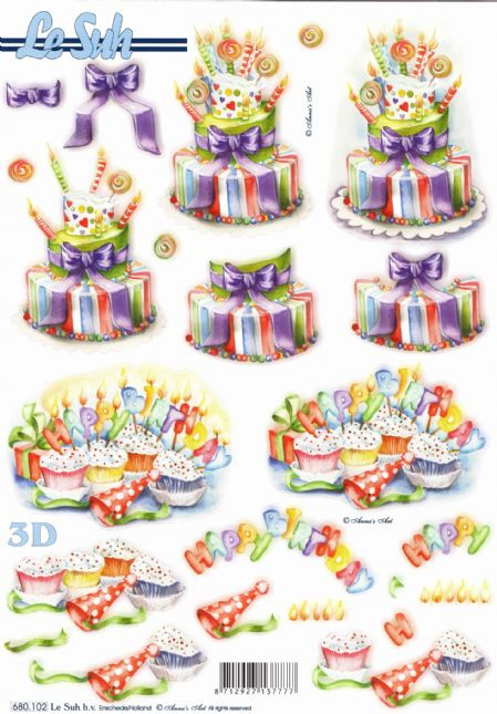 Happy Birthday Cake Die Cut 3d Decoupage Sheet From Le Suh - NO CUTTING